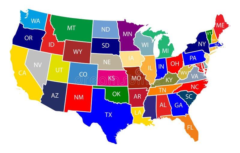 Karte der Vereinigten Staaten von Amerika USA mit bunten Zuständen mit Namen-Illustration auf weißem Hintergrund stock abbildung