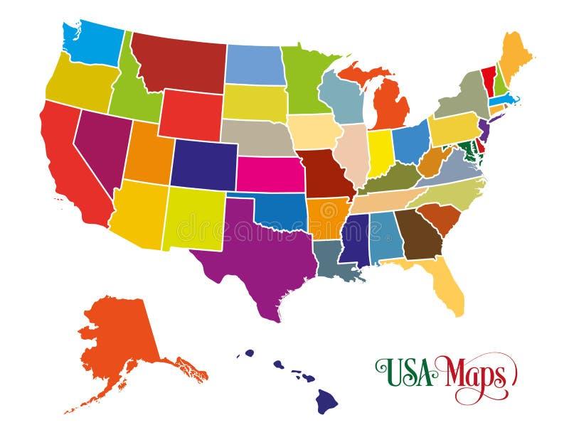 Karte der Vereinigten Staaten von Amerika USA mit bunter Zustands-Illustration auf weißem Hintergrund lizenzfreie abbildung