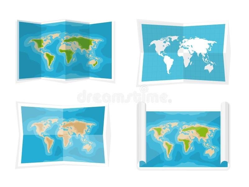 Karte der Welt Auch im corel abgehobenen Betrag nearsighted Afrika die Antarktis Australien Eurasien Nordamerika vektor abbildung