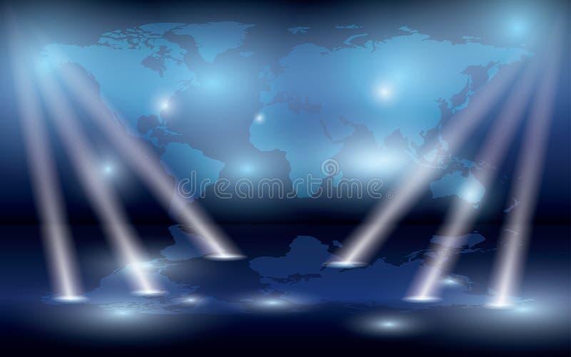 Karte der Welt auf der Wand und den Leuchten - ENV stock abbildung
