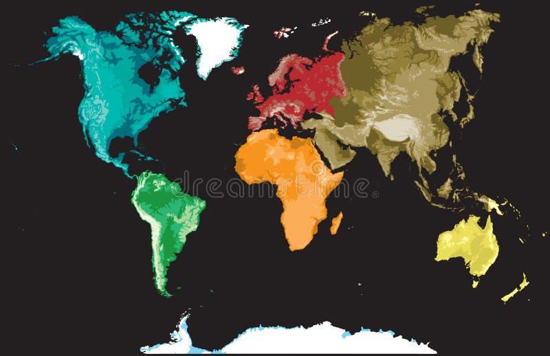 Karte der Welt auf einem Schwarzen. lizenzfreie abbildung