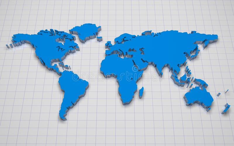 Karte der Welt 3d lizenzfreie abbildung