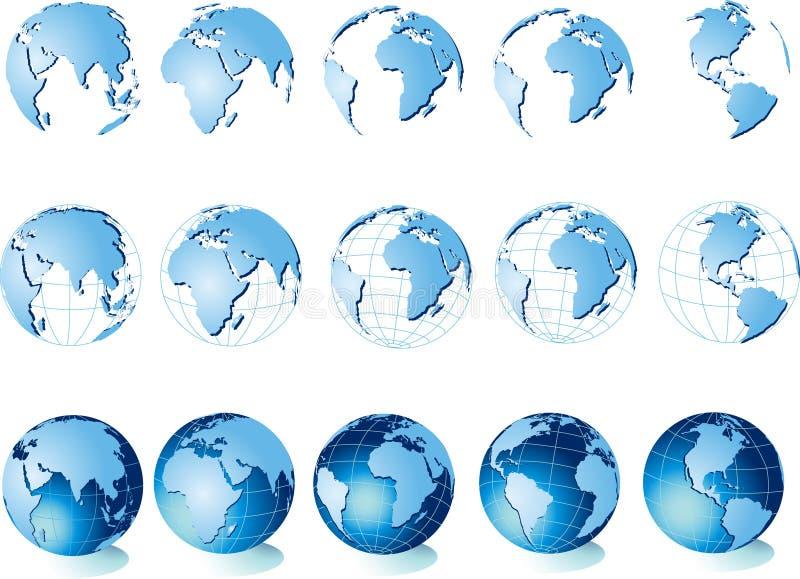 Karte der Welt, Kugel lizenzfreie abbildung