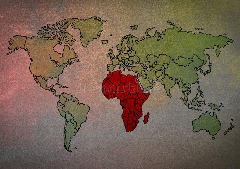 Karte der Welt mit Afrika hob hervor stockfotografie
