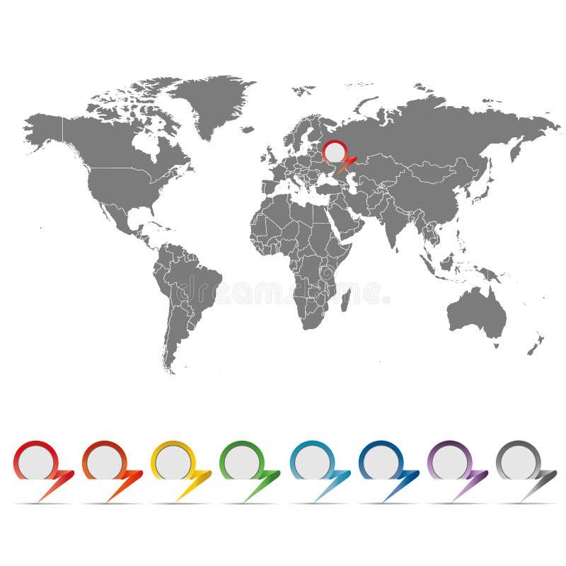 Karte der Welt mit einem Satz Zeigern lizenzfreie abbildung