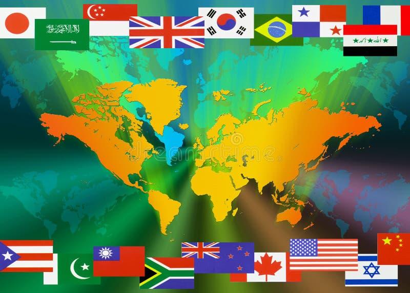 Karte der Welt mit Markierungsfahnen lizenzfreie abbildung