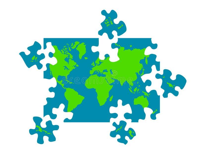 Karte der Weltpuzzlespiel-Stücke stock abbildung