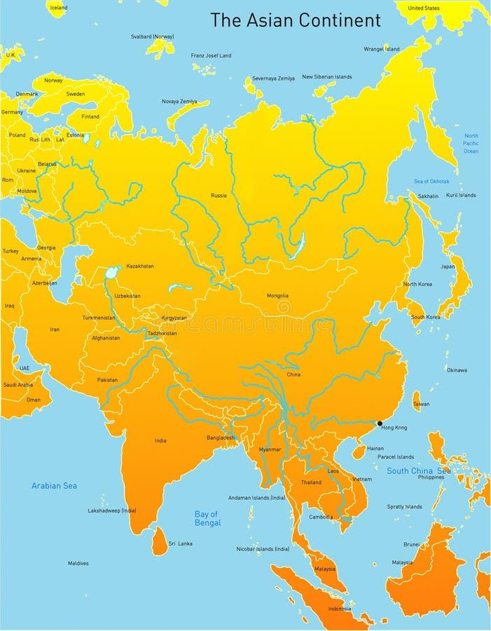 Karte des asiatischen Kontinentes stock abbildung