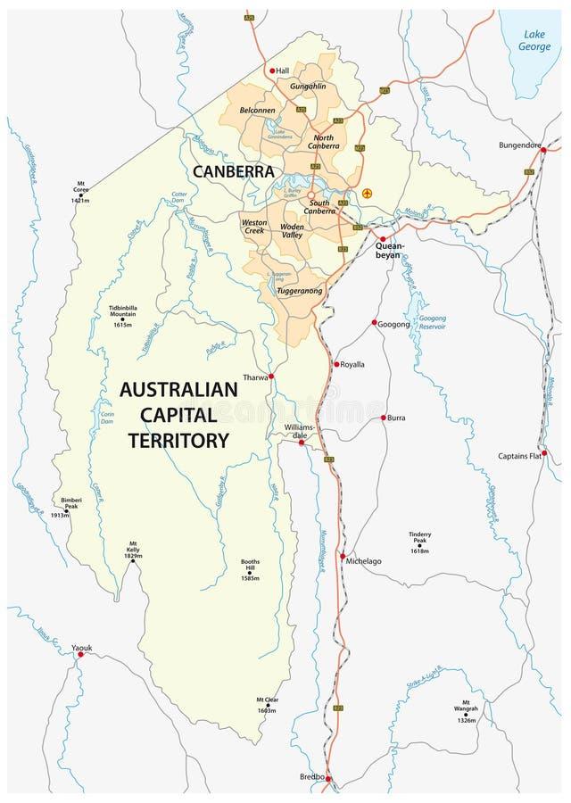 Karte des australischen Hauptstadt Gebiets mit der Hauptstadt Canberra vektor abbildung