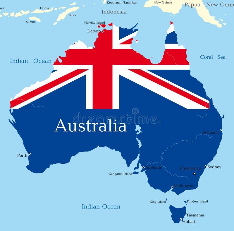 Karte des australischen Kontinentes stock abbildung