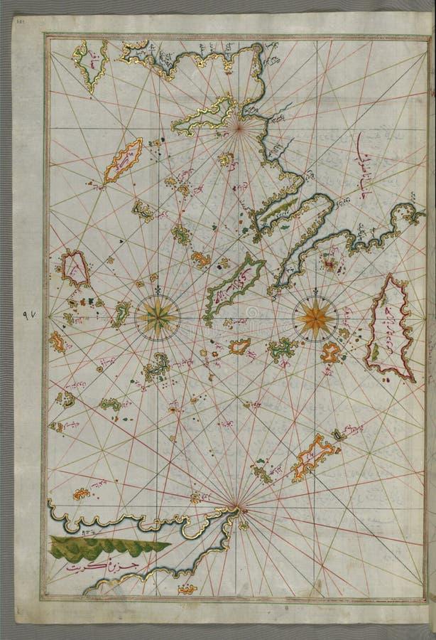 Karte des belichteten Manuskriptes der Inseln des Ägäischen Meers einschließlich Chios ( Sakiz) , Lattich ( Stancho, Ä°stanköy) stockbilder