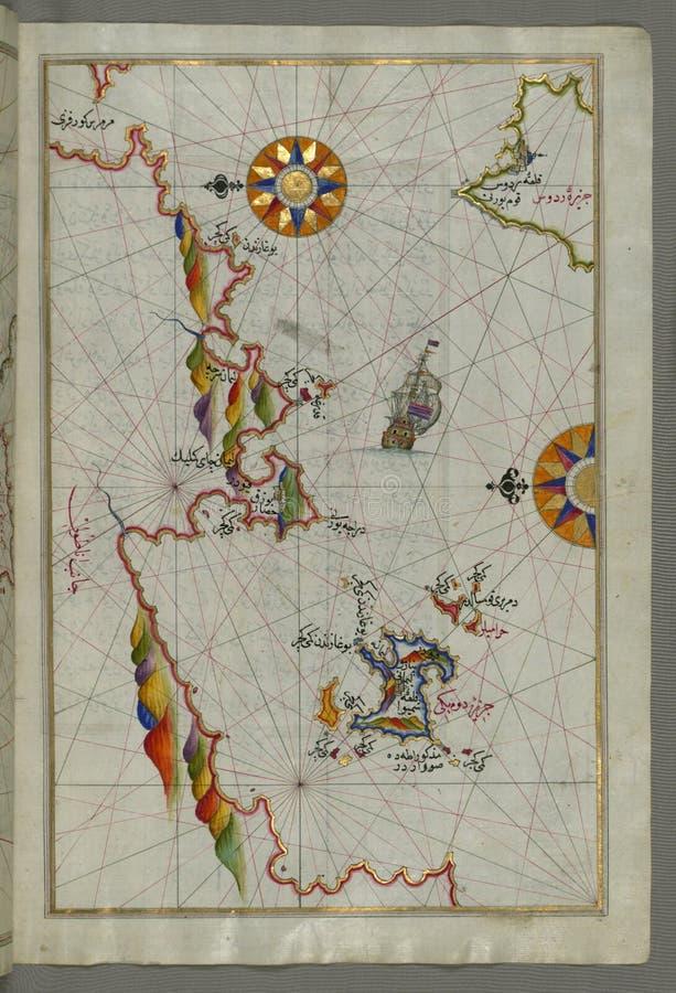 """Karte des belichteten Manuskriptes des nordöstlichen Tipps von Rhodos ( Rodos, RÅ """"dÅ """"s) Insel, welche die anatolische Küste mit stockfotos"""