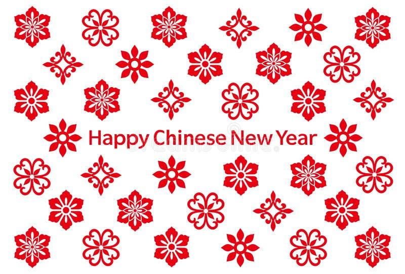 Karte des Chinesischen Neujahrsfests mit chinesischen Ikonen stock abbildung