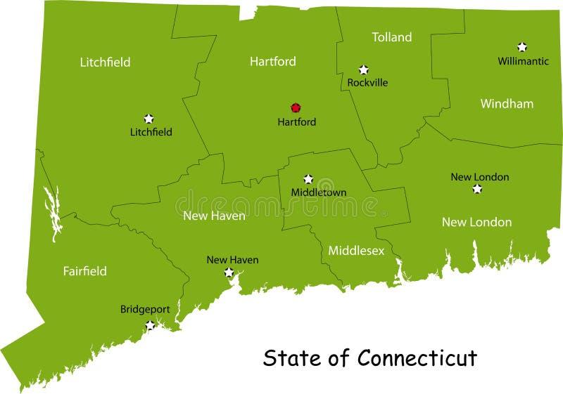 Karte des Connecticut-Zustandes lizenzfreie abbildung