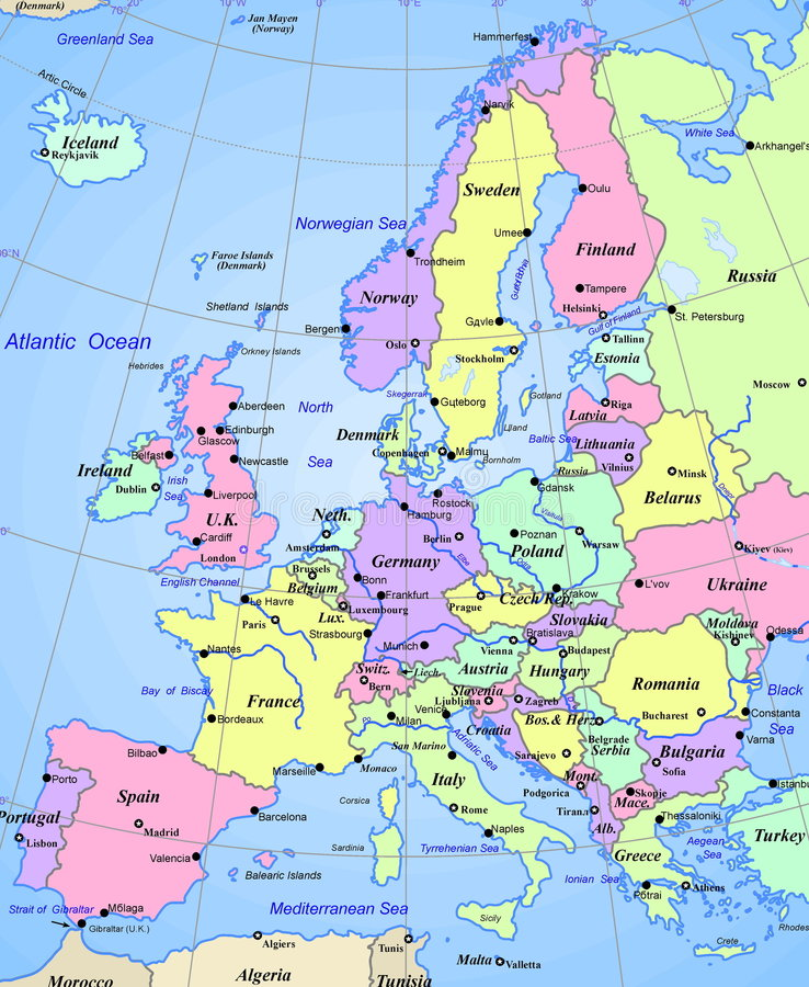 Karte des Europa-Kontinentes lizenzfreie abbildung