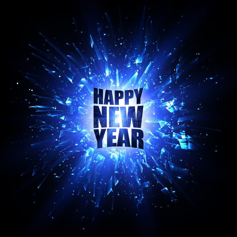 Karte des glücklichen neuen Jahres Blaue Vektorexplosion entziehen Sie Hintergrund stock abbildung