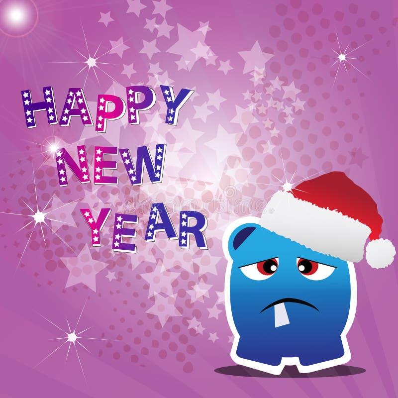 Karte des glücklichen neuen Jahres mit Monster
