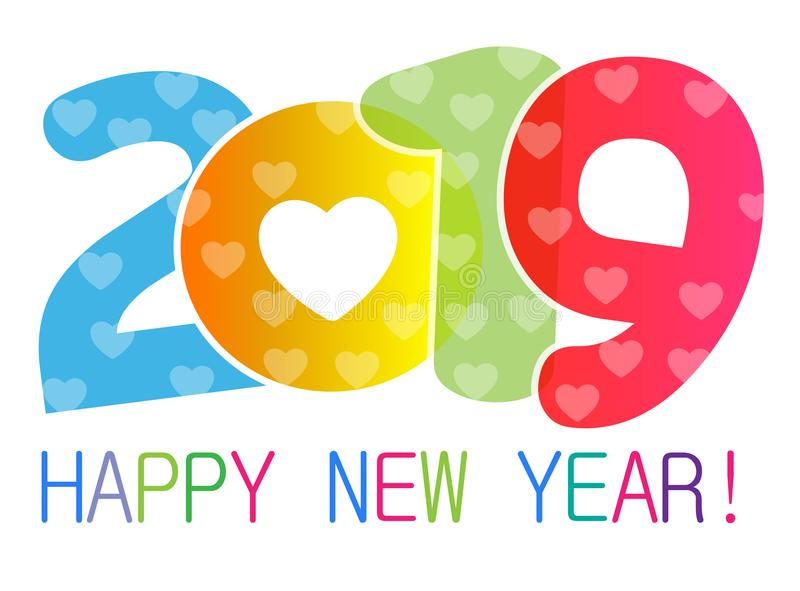 Karte des guten Rutsch ins Neue Jahr 2019 und Grußtext entwerfen mit Herzen für Liebhaber stock abbildung