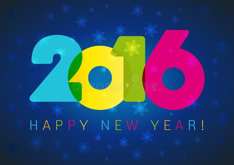 Karte des neuen Jahres 2016 dunkelblau lizenzfreie abbildung