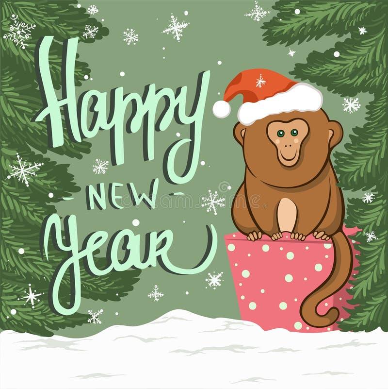 Karte des neuen Jahres mit Affen auf dem Geschenk lizenzfreie stockbilder