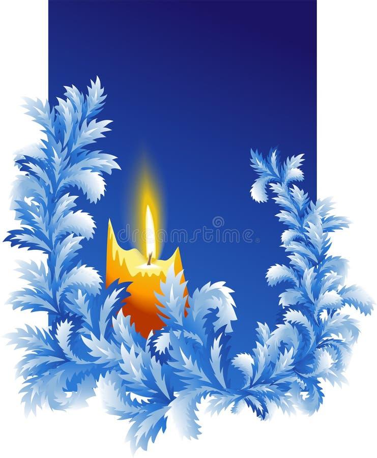 Karte des neuen Jahres mit brennender Kerze stock abbildung