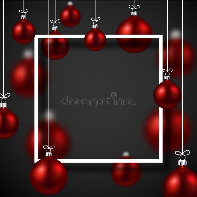 Karte des neuen Jahres mit quadratischem Rahmen und roten Weihnachtsbällen lizenzfreie abbildung