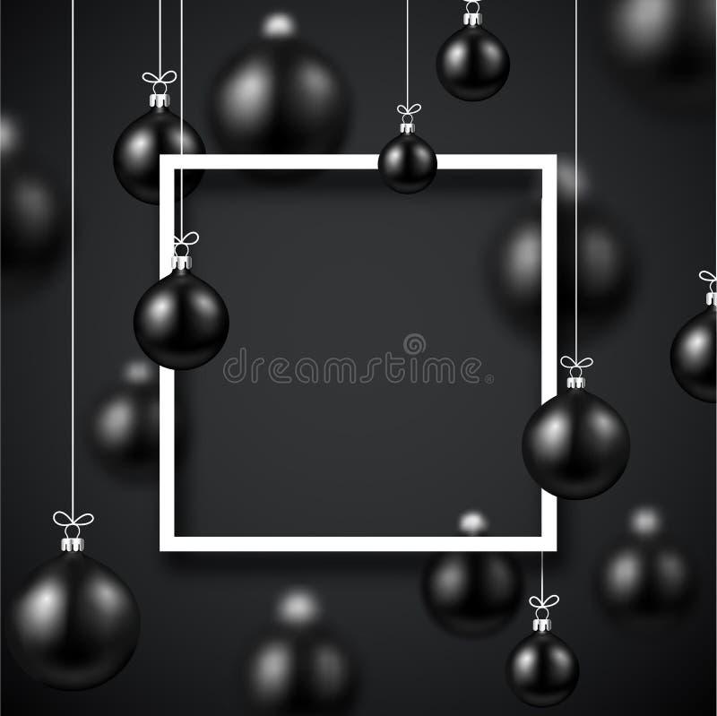 Karte des neuen Jahres mit quadratischem Rahmen und schwarzen Weihnachtsbällen lizenzfreie abbildung