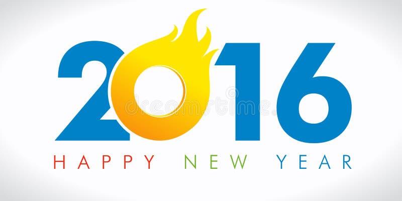 Karte des neuen Jahres von 2016 Flamme lizenzfreie abbildung