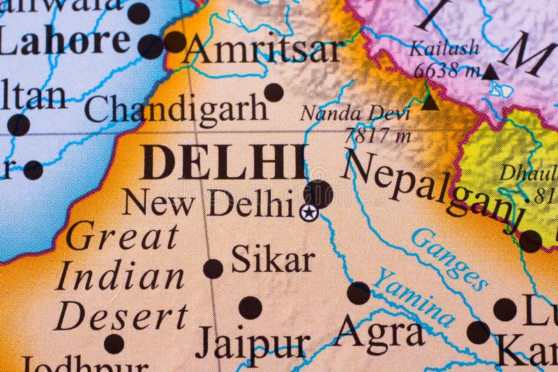 Karte des südlichen Teils von Indien stockfotos