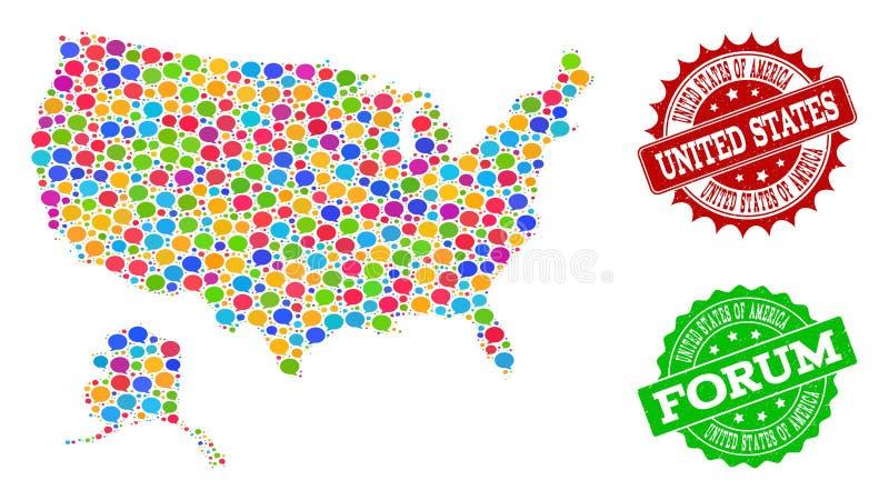 Karte des Sozialen Netzes von USA und von Alaska mit Mitteilungs-Wolken und strukturierten Wasserzeichen lizenzfreie abbildung
