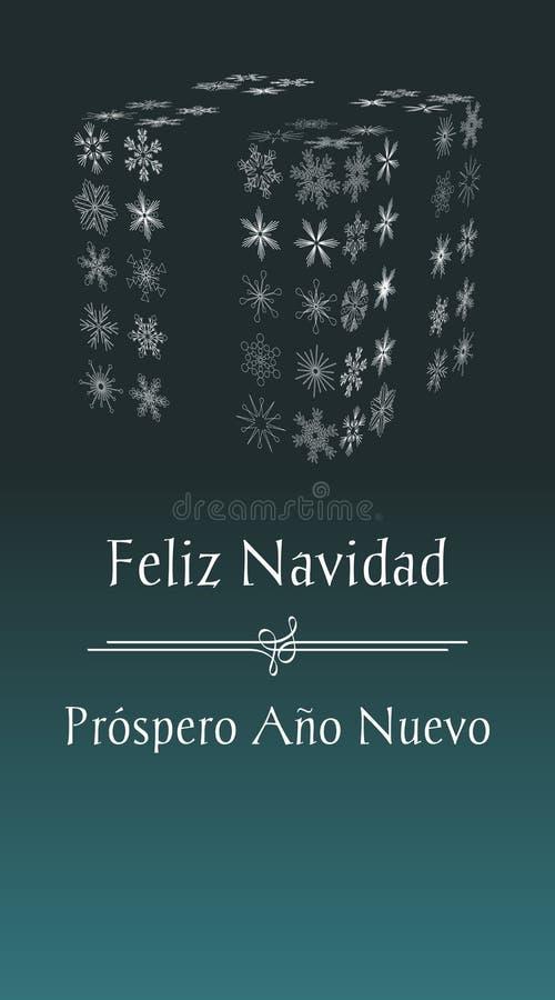 Karte des spanischen frohe Weihnacht- und guten Rutsch ins Neue Jahr-Grußes vektor abbildung