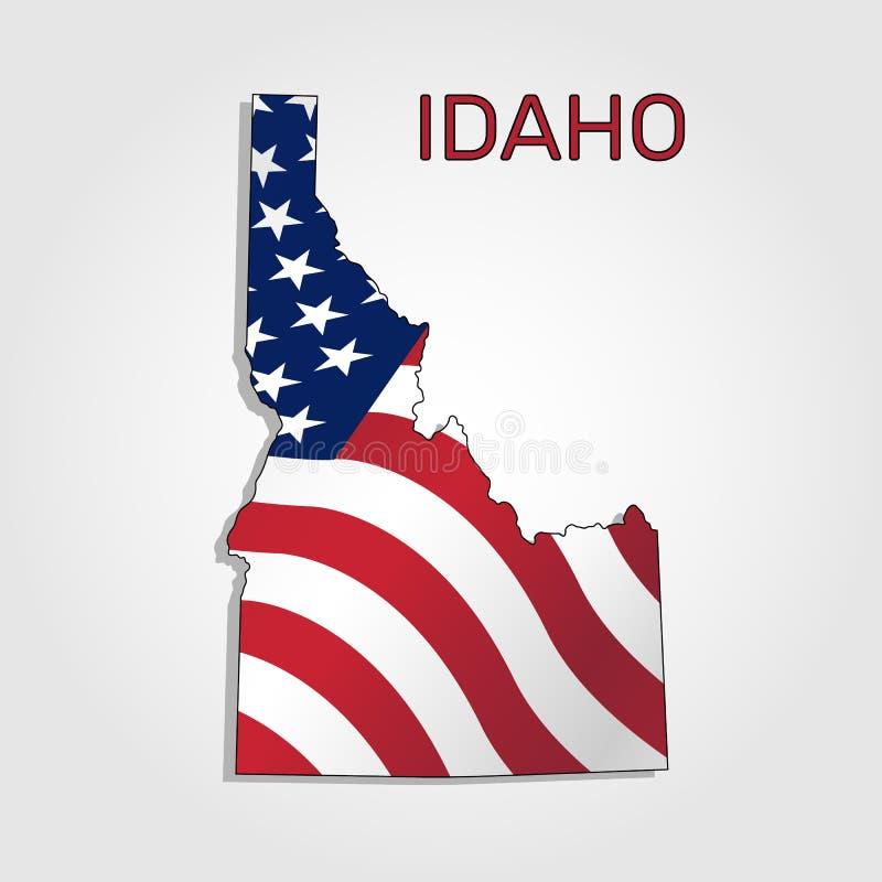 Karte des Staat Idahos im Verbindung mit a, welches die Flagge der Vereinigten Staaten - Vektor wellenartig bewegt stock abbildung