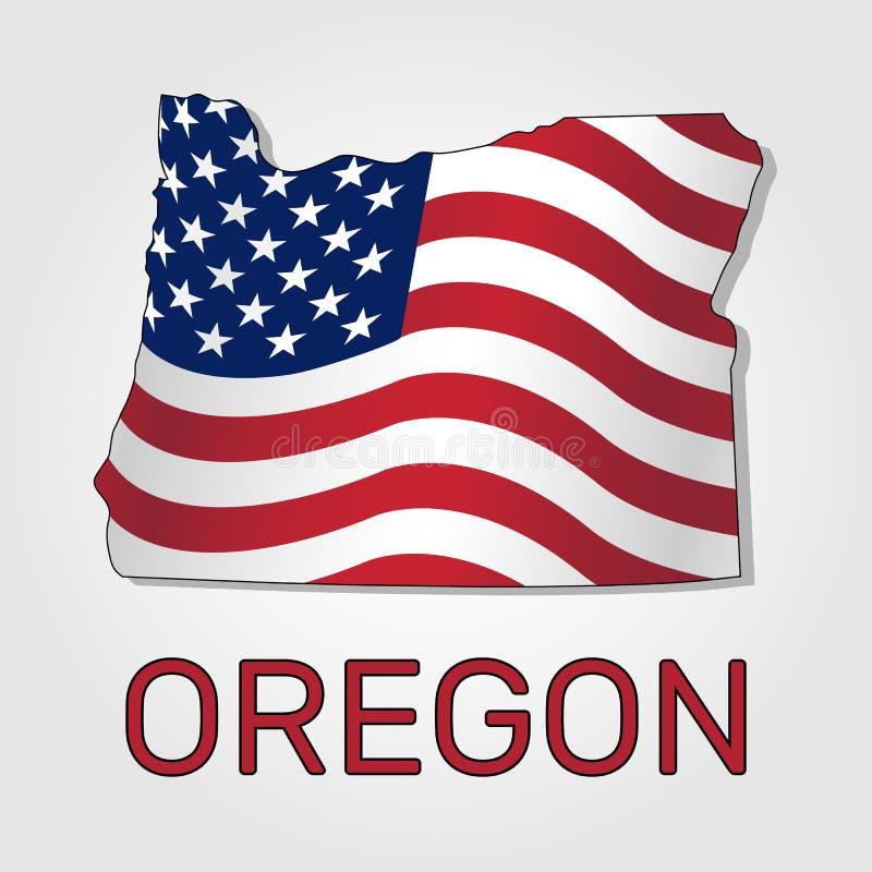 Karte des Staats Oregon im Verbindung mit a, welches die Flagge der Vereinigten Staaten - Vektor wellenartig bewegt vektor abbildung