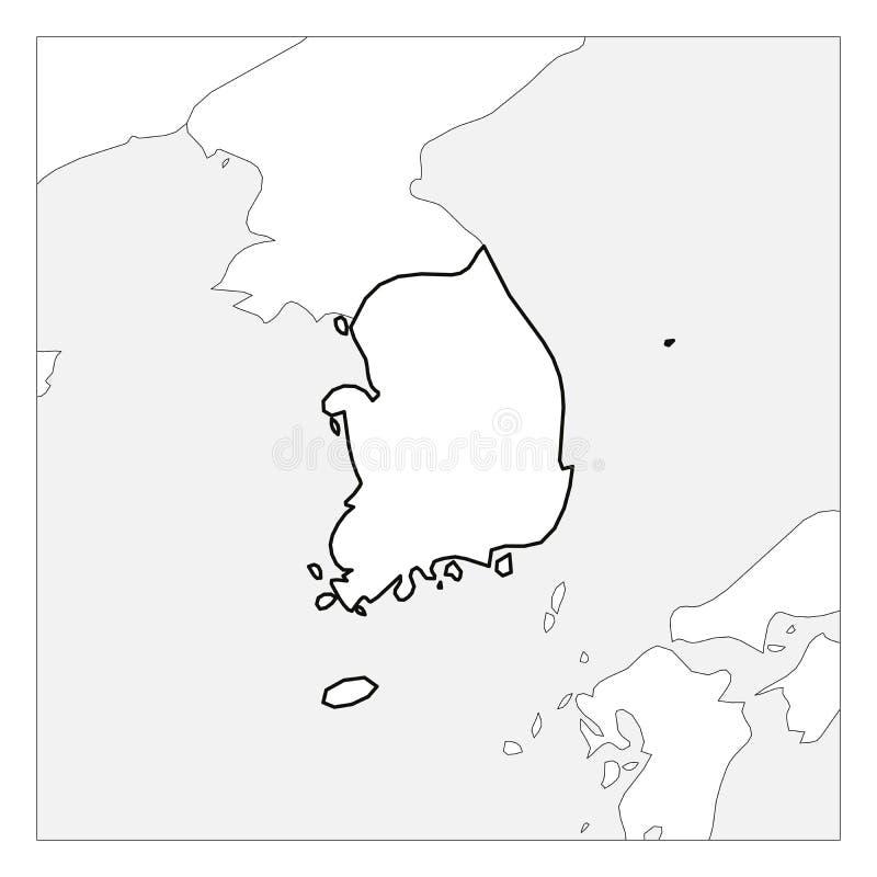 Karte des starken Entwurfs Südkorea-Schwarzen hob mit Nachbarländern hervor stock abbildung