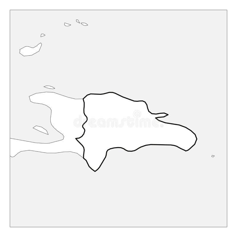 Karte des starken Entwurfs des Schwarzen der Dominikanischen Republik hob mit Nachbarländern hervor stock abbildung