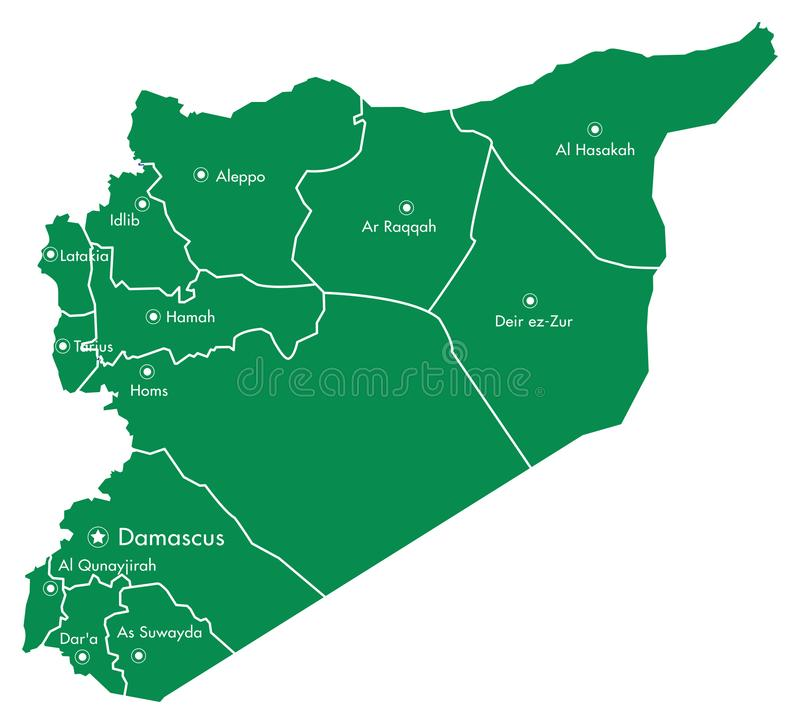 Karte des Syriens mit Regionen und der Städte auf Weiß stock abbildung