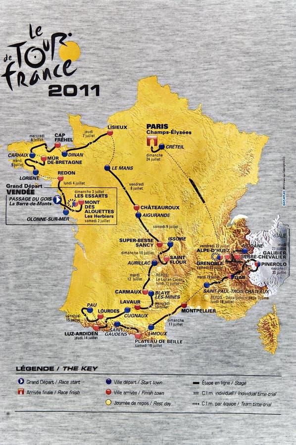 Karte des Tour de France 2011 stockbild