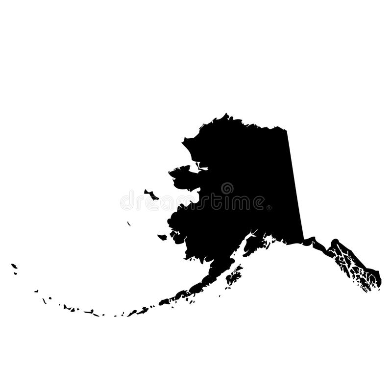 Karte des U S Zustand Alaska lizenzfreie abbildung