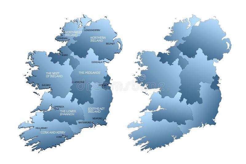 Karte des vollständigen Irlands mit Regionen stock abbildung