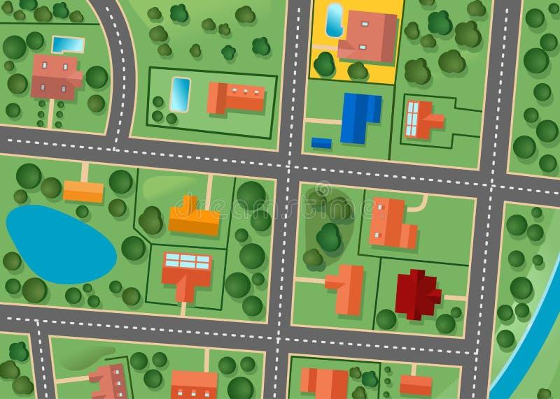 Karte des Vorortbezirkes lizenzfreie abbildung