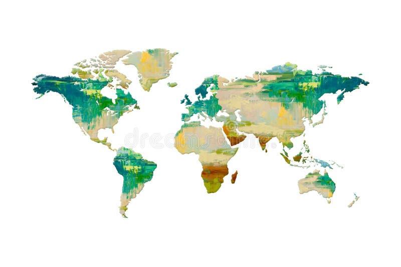 Karte des Weltölfarbe-Beschaffenheitsentwurfs auf weißem Hintergrund lizenzfreies stockfoto