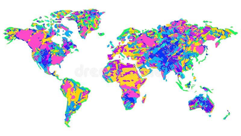 Karte des Weltbunten Entwurfs auf weißem Hintergrund stockbild