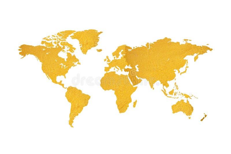 Karte des Weltgoldbeschaffenheitsentwurfs auf weißem Hintergrund lizenzfreies stockbild