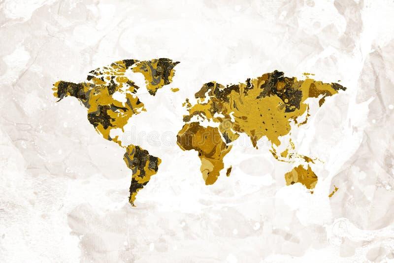 Karte des Weltkünstlerischen schwarzen Goldmarmorentwurfs lizenzfreies stockbild