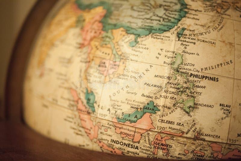 Karte des Weltspeziell Fokus auf dem Philippinen- und Südchinesisches Meer-Bereich stockfotos