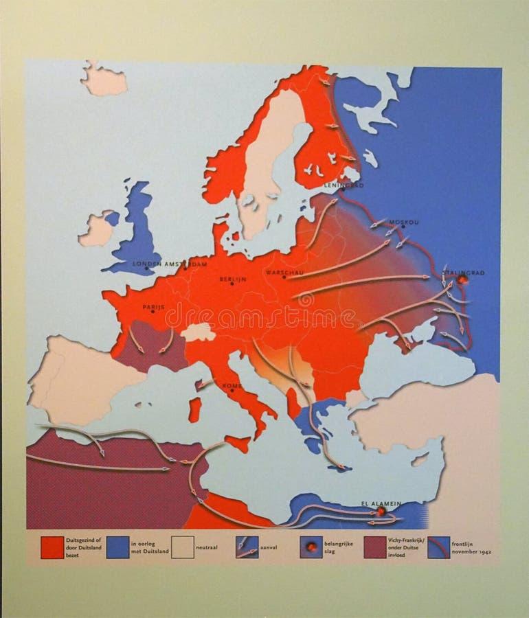 Karte Deutschlands von Invasionen und von Rückzügen von 1940 bis 1944, Zweiter Weltkrieg lizenzfreie stockfotos