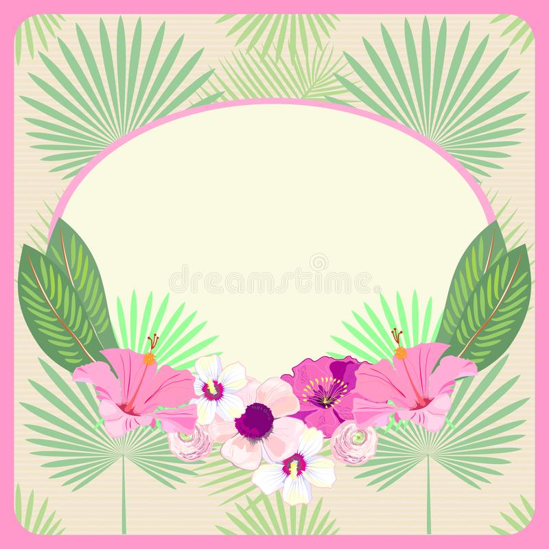 Karte, Einladung, Menü, Karte, Fahne, Raum für Text mit Ara Macao Parrot u. Palmblätter weinlese Vektor lizenzfreie abbildung