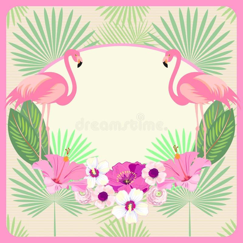 Karte, Einladung, Menü, Karte, Fahne, Raum für Text mit Ara Macao Parrot u. Palmblätter weinlese Vektor stock abbildung