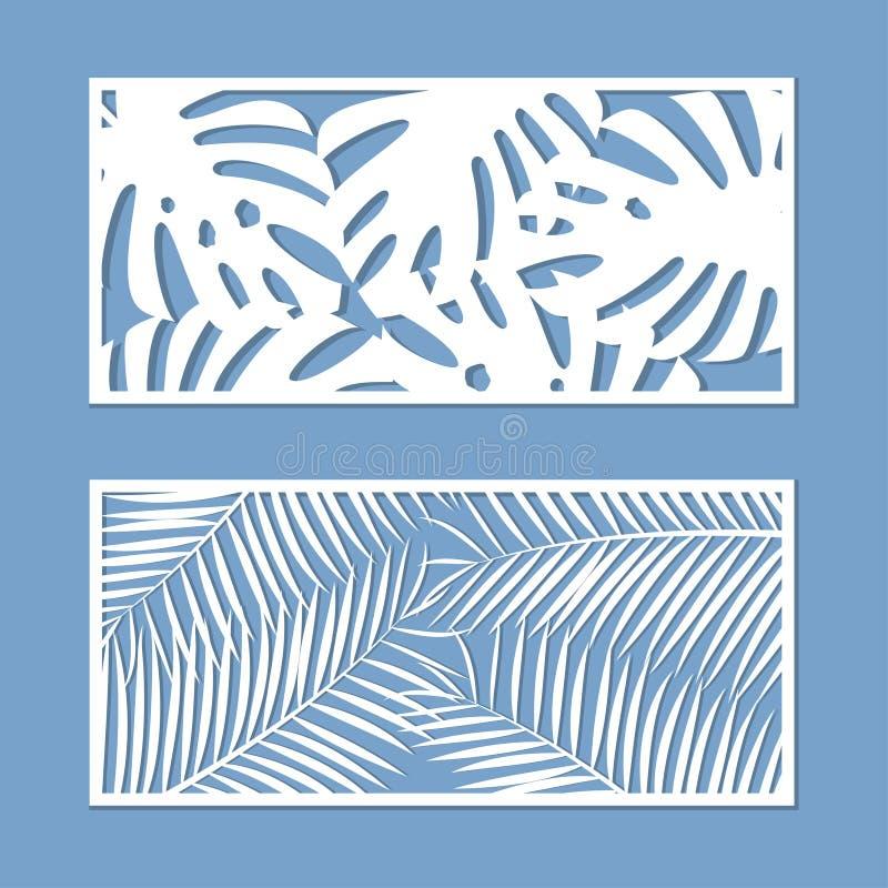 Karte für den Schnitt des Satzes Schablone mit Palmblattmuster für Laser-Schnitt Vektor stock abbildung