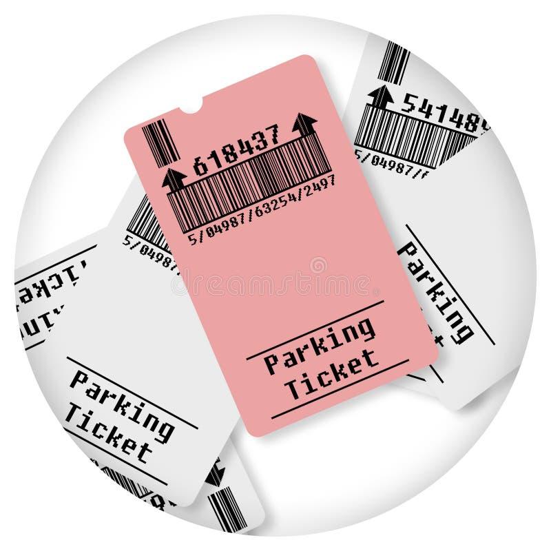 Karte für Parkplatz - rundes Ikonenkonzeptbild - Fotografie in einem Kreis - Strichkode und Kennziffern werden vollständig gebild stockfotos